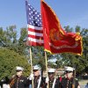 The Marine Corps Color Guard marching in the Veterans Day Parade in Norman Friday, Nov. 11, 2011. Photo by Paul B. Southerland, The Oklahoman