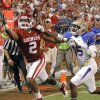 Oklahoma\'s Trey Franks (2) just misses a catch in the end zone in front of Tulsa\'s J.D. Ratliff (15) during the college football game between the University of Oklahoma Sooners ( OU) and the Tulsa University Hurricanes (TU) at the Gaylord Family-Memorial Stadium on Saturday, Sept. 3, 2011, in Norman, Okla. Photo by Chris Landsberger, The Oklahoman ORG XMIT: KOD