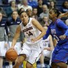 Connecticut\'s Bria Hartley (14) drives past SMU\'s Gabrielle Wilkins (3) during the second half of an NCAA college basketball game in Storrs, Conn., Tuesday, Feb. 4, 2014. Hartley scored a game-high 21 points in her team\'s 102-41 victory. (AP Photo/Fred Beckham)