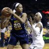 Photo - West Virginia center Asya Bussie (20) keeps the ball from Baylor guard Odyssey Sims (0) during the first quarter of an NCAA college basketball game Sunday, March 2, 2014, in Waco, Texas. (AP Photo/LM Otero)