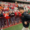OSU head coach Mike Gundy runs off the field with his fist held up after the college football game between Oklahoma State University (OSU) and the University of Nebraska (NU) at Memorial Stadium in Lincoln, Neb., Saturday, October 13, 2007. OSU won, 45-14. By Nate Billings, The Oklahoman