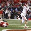 OU\'s Kenny Stills scores a touchdown in front of Nebraska\'s Austin Cassidy during the Big 12 football championship game between the University of Oklahoma Sooners (OU) and the University of Nebraska Cornhuskers (NU) at Cowboys Stadium on Saturday, Dec. 4, 2010, in Arlington, Texas. Photo by Bryan Terry, The Oklahoman