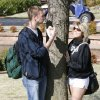 UCO students David Niles and Jackie Heilaman hug a tree for 5 minutes to win Earth Day t-shirts at the University of Central Oklahoma in Edmond, OK, Monday, April 20, 2009. BY PAUL HELLSTERN, THE OKLAHOMAN