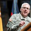 Major General Myles L. Deering speaks during a deployment ceremony for members of the 45th Infantry Brigade Combat Team at The OKC Arena in Oklahoma City on Wednesday, Feb. 16, 2011. Photo by John Clanton, The Oklahoman
