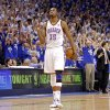 Oklahoma City\'s Kevin Durant pumps his fist in the final seconds of the 77-75 win over the Lakers during Game 2 in the second round of the NBA playoffs between the Oklahoma City Thunder and the L.A. Lakers at Chesapeake Energy Arena on Wednesday, May 16, 2012, in Oklahoma City, Oklahoma. Photo by Chris Landsberger, The Oklahoman