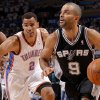 San Antonio\'s Tony Parker (9) goes past Oklahoma City\'s Thabo Sefolosha (2) during Game 6 of the Western Conference Finals between the Oklahoma City Thunder and the San Antonio Spurs in the NBA playoffs at the Chesapeake Energy Arena in Oklahoma City, Wednesday, June 6, 2012. Photo by Bryan Terry, The Oklahoman