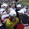 European players celebrate after winning the Ryder Cup PGA golf tournament Sunday, Sept. 30, 2012, at the Medinah Country Club in Medinah, Ill. (AP Photo/David J. Phillip) ORG XMIT: PGA233