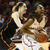 Photo - Oklahoma State's Liz Donohoe (4) fouls Oklahoma's Sharane Campbell (24) after Campbell stole the ball from Donohoe late in the second half during a women's Bedlam college basketball game between the Oklahoma State University Cowgirls (OSU) and the University of Oklahoma Sooners (OU) at Lloyd Noble Center in Norman, Okla., Saturday, Feb. 1, 2014. OU won, 81-74. Photo by Nate Billings, The Oklahoman
