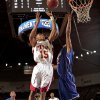 Centennial Bison\'s Trevon Threat (15) shoots guarded by Millwood Falcons\' Wayne Jackson (right) in the Oklahoma State Class 3A Boys Basketball Tournament at the Fairgrounds Arena on Friday, March 9, 2012, in Oklahoma City, Okla. Photo by Steve Sisney, The Oklahoman