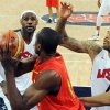 United States\' LeBron James, left, and Tyson Chandler, right, pressure Spain\'s Serge Ibaka during the men\'s gold medal basketball game at the 2012 Summer Olympics in London on Sunday, Aug. 12, 2012. (AP Photo/Mark Ralston, Pool)