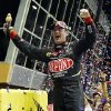 Jeff Gordon celebrates after winning the NASCAR Sprint Cup Series auto race at Homestead-Miami Speedway, Sunday, Nov. 18, 2012, in Homestead, Fla. (AP Photo/J Pat Carter)