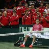 Spain\'s Nicolas Almagro reacts after losing to Czech Republic\'s Radek Stepanek during in their Davis Cup finals tennis singles match in Prague, Czech Republic, Sunday, Nov. 18, 2012. Czech Republic defeated Spain 3-2 and gained the Davis Cup trophy. (AP Photo/Petr David Josek)