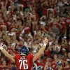 Arizona\'s Kyle Quinn (76) celebrates a win over OSU following the college football game between the University of Arizona and Oklahoma State University at Arizona Stadium in Tucson, Ariz., Sunday, Sept. 9, 2012. Photo by Sarah Phipps, The Oklahoman