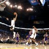 Oklahoma City\'s Russell Westbrook (0) dunks during the NBA basketball game between the Oklahoma City Thunder and the Los Angeles Lakers, Sunday, Feb. 27, 2011, at the Oklahoma City Arena. Photo by Sarah Phipps, The Oklahoman