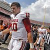 OU\'s Blake Bell (10) walks off the field at halftime during the Red River Rivalry college football game between the University of Oklahoma Sooners (OU) and the University of Texas Longhorns (UT) at the Cotton Bowl Stadium in Dallas, Saturday, Oct. 12, 2013. Photo by Chris Landsberger, The Oklahoman