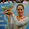 Photo - Serbia's Ana Ivanovic holds the trophy after winning the final against Czech Republic's Barbora Zahlavova Strycova at the Aagon Classic at Edgbaston Priory Club, Birmingham central England Sunday June 15, 2014. (AP Photo/Rui Vieira/PA)  UNITED KINGDOM OUT