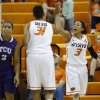 Oklahoma State\'s Tiffany Bias (3) celebrates with Kendra Suttles (31) during a women\'s college basketball game between Oklahoma State University and TCU at Gallagher-Iba Arena in Stillwater, Okla., Tuesday, Feb. 5, 2013. Photo by Bryan Terry, The Oklahoman