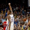 Photo - Kevin Durant (35) reacts after making a basket on Wednesday. Photo by Bryan Terry, The Oklahoman