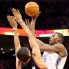 Oklahoma City\'s Kevin Durant puts up a shot over Portland\'s Nicolas Batum during their NBA basketball game at the Ford Center in Oklahoma City, Okla., on Sunday, March 28, 2010. Photo by John Clanton, The Oklahoman