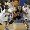 Millwood\'s Nykiah Hines (1) and Da/Neshia Threatt (11) defend on Perkins\' Jeri Adkism (23) during the state high school basketball tournament Class 3A girls semifinal game between Millwood High School and Perkins High School at the State Fair Arena on Friday, March 8, 2013, in Oklahoma City, Okla. Photo by Chris Landsberger, The Oklahoman