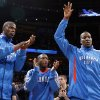 Oklahoma City\'s Nazr Mohammed (8), Nate Robinson (3) and Kendrick Perkins (5) are introduced before the NBA basketball game between the Oklahoma City Thunder and the Los Angeles Lakers, Sunday, Feb. 27, 2011, at the Oklahoma City Arena.Photo by Sarah Phipps, The Oklahoman