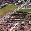 Aerial View of tornado damage looking southwest with traffic on S.E 44th street near Sooner Road.