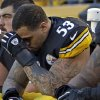 Pittsburgh Steelers center Maurkice Pouncey (53) sits on the bench during the final minute of the Steelers\' 13-10 loss to the Cincinnati Bengals in an NFL football game in Pittsburgh, Sunday, Dec. 23, 2012. (AP Photo/Gene J. Puskar)