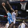 Oklahoma City Thunder\'s Serge Ibaka (9) defends on New Orleans Hornets\' Darius Miller (2) during the NBA basketball game between the Oklahoma City Thunder and the New Orleans Hornets at the Chesapeake Energy Arena on Wednesday, Feb. 27, 2013, in Oklahoma City, Okla. Photo by Chris Landsberger, The Oklahoman