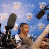 Russell Westbrook during media interview after the Thunder practice Sunday, June 10, 2012. Photo by Doug Hoke, The Oklahoman