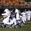 UC Irvine celebrates after winning Game 2 and the NCAA baseball Stillwater Super Regional between Oklahoma State and UC Irvine at Allie P. Reynolds Stadium in Stillwater, Okla., Saturday, June 7, 2014. Photo by Nate Billings, The Oklahoman