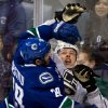 Vancouver Canucks\' Tom Sestito, left, and Los Angeles Kings\' Jake Muzzin collide during the second period of an NHL hockey game in Vancouver, British Columbia on Saturday, March 2, 2013. (AP Photo/The Canadian Press, Darryl Dyck)