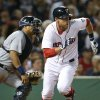 Boston Red Sox\'s Will Middlebrooks runs to first after hitting a single to drive in two runs as Detroit Tigers catcher Brayan Pena watches in the fifth inning of a baseball game at Fenway Park in Boston, Tuesday, Sept. 3, 2013. (AP Photo/Elise Amendola)