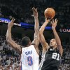 San Antonio\'s Tim Duncan (21) shoots the ball over Oklahoma City\'s Serge Ibaka (9) during Game 6 of the Western Conference Finals between the Oklahoma City Thunder and the San Antonio Spurs in the NBA playoffs at the Chesapeake Energy Arena in Oklahoma City, Wednesday, June 6, 2012. Photo by Chris Landsberger, The Oklahoman
