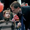 Photo -   Incumbent Alaska State Representative Lance Pruitt talks with his son Jacob, 6, at election central Tuesday, Nov. 6, 2012 in Anchorage, Alaska. (AP Photo/Michael Dinneen)