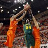 From left, OSU\'s Michael Cobbins (20), Baylor\'s Cory Jefferson (34) and OSU\'s Marek Soucek (14) try for a rebound in the second half of a men\'s college basketball game between the Oklahoma State University Cowboys and the Baylor University Bears at Gallagher-Iba Arena in Stillwater, Okla., Saturday, Feb. 4, 2012. Baylor beat OSU, 64-60. Photo by Nate Billings, The Oklahoman