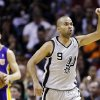 San Antonio Spurs\' Tony Parker (9), of France, asks an official for a goaltending call during the first half of Game 1 of their first-round NBA playoff basketball series against the Los Angeles Lakers, Sunday, April 21, 2013, in San Antonio. (AP Photo/Eric Gay)