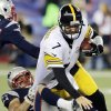 Photo - New England Patriots linebacker Dane Fletcher, bottom left, sacks Pittsburgh Steelers quarterback Ben Roethlisberger (7) in the fourth quarter of an NFL football game Sunday, Nov. 3, 2013, in Foxborough, Mass. The Patriots won 55-31. (AP Photo/Charles Krupa)