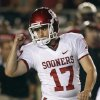 Oklahoma kicker Jimmy Stevens (17) pumps his fist after a 29-yard field goal against Florida State during the second quarter of a NCAA college football game Saturday, Sept. 17, 2011, in Tallahassee, Fla. (AP Photo/Chris O\'Meara) ORG XMIT: TDS116