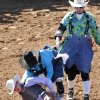 Andrew Woeste, from St. Cloud, FL, holds his hip after being thrown in the Saddle Bronc at the International Finals Youth Rodeo in Shawnee, Friday, July 11, 2014. He was reportedly taken away by ambulance. Photo by David McDaniel, The Oklahoman