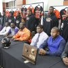 NATIONAL SIGNING DAY / SIGN / LETTER OF INTENT: Senior football players pose for a photo with the signees at the Douglass High School Signing Day ceremony, February 3, 2010.. Photo by David McDaniel, The Oklahoman ORG XMIT: KOD