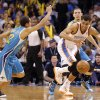Oklahoma City Thunder\'s Thabo Sefolosha (2) takes a steal past New Orleans Hornets\' Brian Roberts (22) during the NBA basketball game between the Oklahoma City Thunder and the New Orleans Hornets at the Chesapeake Energy Arena on Wednesday, Feb. 27, 2013, in Oklahoma City, Okla. Photo by Chris Landsberger, The Oklahoman