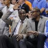 Kendrick Perkins and Kevin Durant joke around on the bench during the season finally NBA basketball game between the Oklahoma City Thunder and the Milwaukee Bucks at Chesapeake Energy Arena on Wednesday, April 17, 2013, in Oklahoma City, Okla. Photo by Chris Landsberger, The Oklahoman