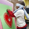 Pre-K student Keldon Morgan pins a small heart on the big heart during his class Valentine\'s Day party at Chisholm Elementary School in Edmond, OK, Friday, Feb. 13, 2009. BY PAUL HELLSTERN, THE OKLAHOMAN