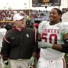 UNIVERSITY OF OKLAHOMA vs UNIVERSITY OF ARKANSAS COLLEGE FOOTBALL AT COTTON BOWL OU co-defensive coordinator Brent Venables celebrates with offensive lineman Vince Carter following OU\'s win over Arkansas in the Cotton Bowl on Tuesday, Jan. 1, 2002. Staff photo by Jim Beckel