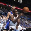 Blake Griffin fouls Serge Ibaka during Game 2 of the Western Conference semifinals in the NBA playoffs between the Oklahoma City Thunder and the Los Angeles Clippers at Chesapeake Energy Arena in Oklahoma City, Wednesday, May 7, 2014. Photo by Bryan Terry, The Oklahoman