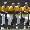 Anadarko players watch game from dugout during their 4-3 win over Tecumseh in the Class 4A state high school baseball tournament at Shawnee High School\'s Memorial Park. on Thursday, May 10, 2012. Photo by Jim Beckel, The Oklahoman