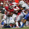 Oklahoma\'s Jalen Saunders (8) returns a kick during the college football game between the University of Oklahoma Sooners (OU) and the University of Tulsa Hurricanes (TU) at the Gaylord-Family Oklahoma Memorial Stadium on Saturday, Sept. 14, 2013 in Norman, Okla. Photo by Chris Landsberger, The Oklahoman