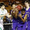 From left, Bishop McGuinness\' Will Lienhard (33), Chickasha\'s Montana Stonecalf (33), E.J. Golightly (3) and Blake Baker (13) try to secure the ball during a Class 5A boys high school basketball game in the semifinals of the state tournament at the Mabee Center in Tulsa, Okla., Friday, March 8, 2013. Bishop McGuinness beat Chickasha, 50-40. Photo by Nate Billings, The Oklahoman