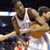 Oklahoma City\'s Kevin Durant gets a rebound against Houston during their NBA basketball game at the OKC Arena in downtown Oklahoma City on Wednesday, Nov. 17, 2010. Photo by John Clanton, The Oklahoman