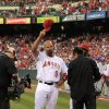 Los Angeles Angels\' Albert Pujols tips his cap during introductions prior to a baseball game against the Kansas City Royals, Friday, April 6, 2012, in Anaheim, Calif. (AP Photo/Mark J. Terrill)